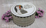 Father Penguin wooden marquetry box by Moonyzier