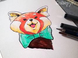 Happy red panda  watercolour study
