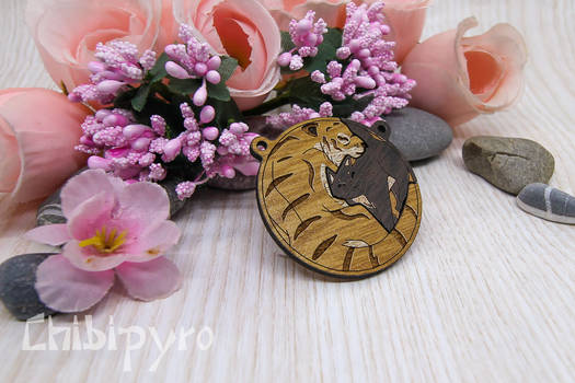 Cat And Tiger Wooden Charm