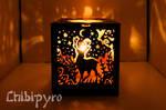 Animals carved lantern Deer side