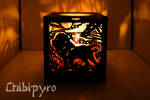 Savannah animals carved lantern Lion side