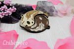 Yin Yang koi wooden charms