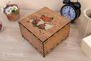 Fox cub wooden marquetry box by Moonyzier
