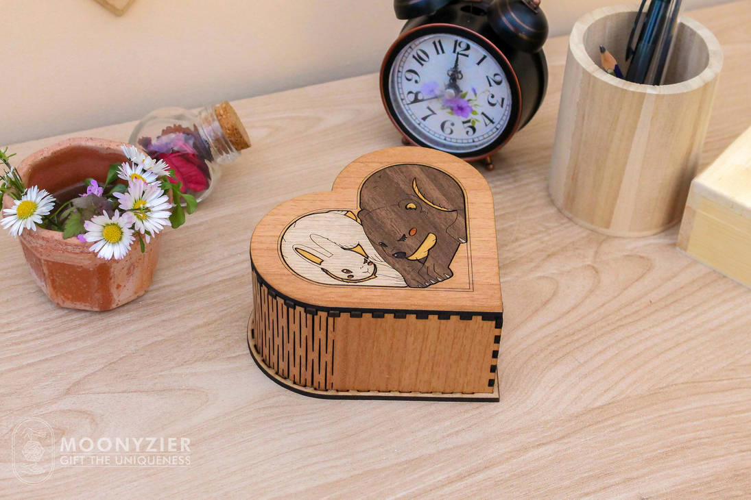 Bear and Bunny wooden marquetry heart shaped box