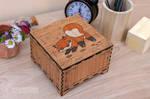 cute playfull Fox cub wooden box