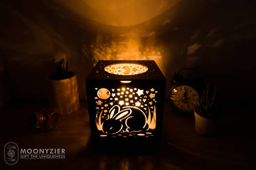 Cute animal cubs carved lantern rabbit side
