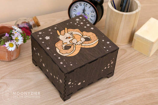 Cute dragon in the night sky wooden box