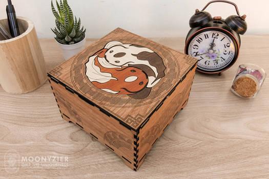 Koi fishes yin yang wooden box