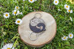 Owls yin yang wooden charms