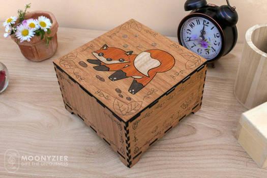 Fox pup wooden box III
