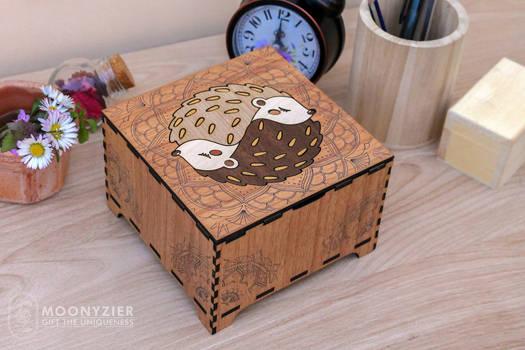 Couple hedgehogs yin yang wooden box