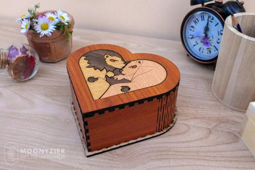 Lions couple heart shaped box