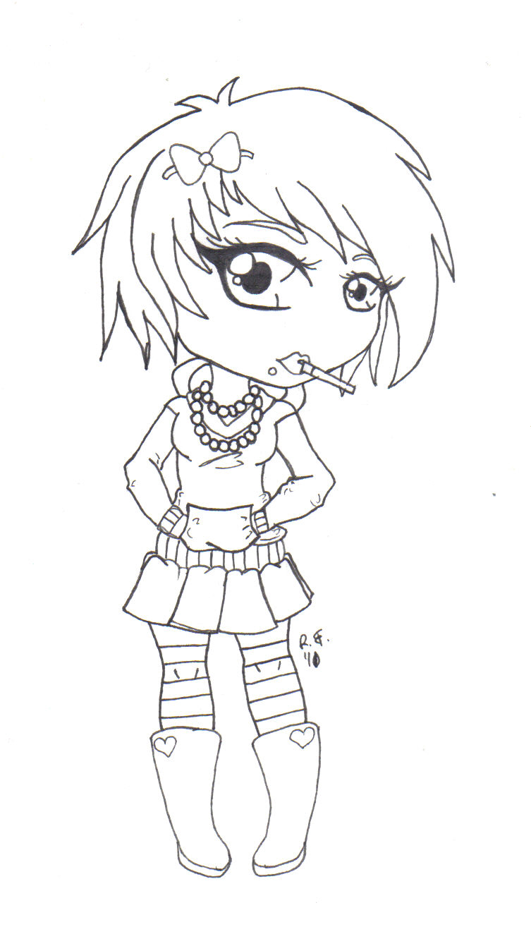 anime girl coloring pages emo - photo#17