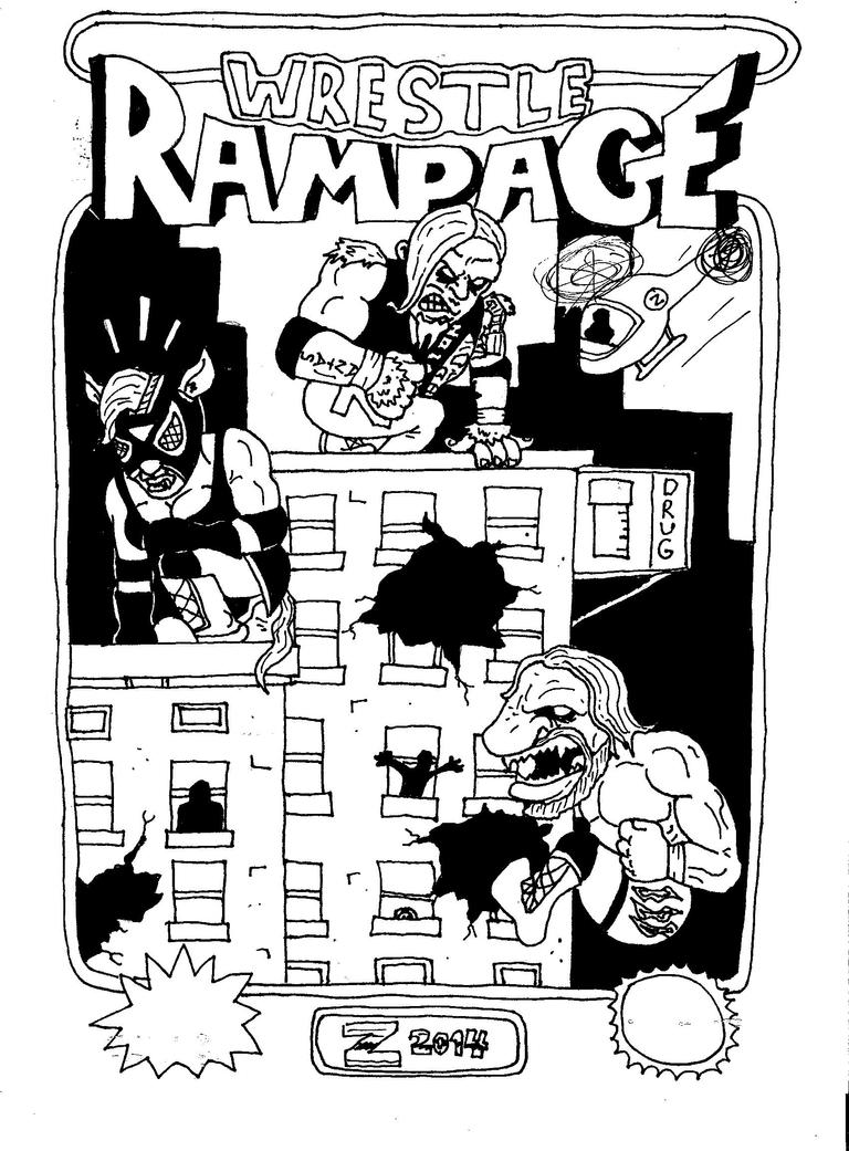 Wrestle Rampage b/w by ChainsawComics
