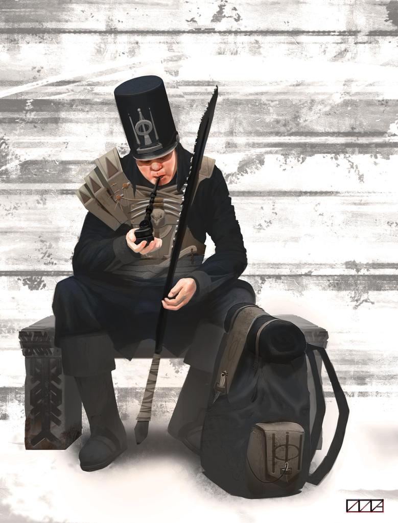 Soldier smoking pipe by Oktargai