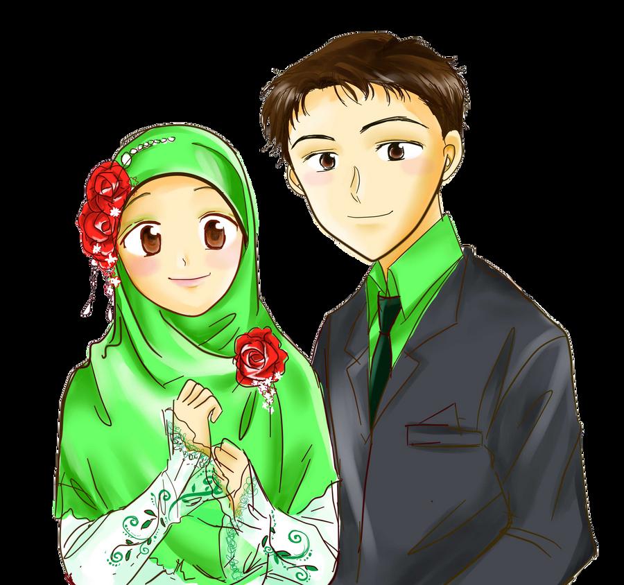 Kumpulan Gambar Kartun Pengantin Islami Galeri Keren