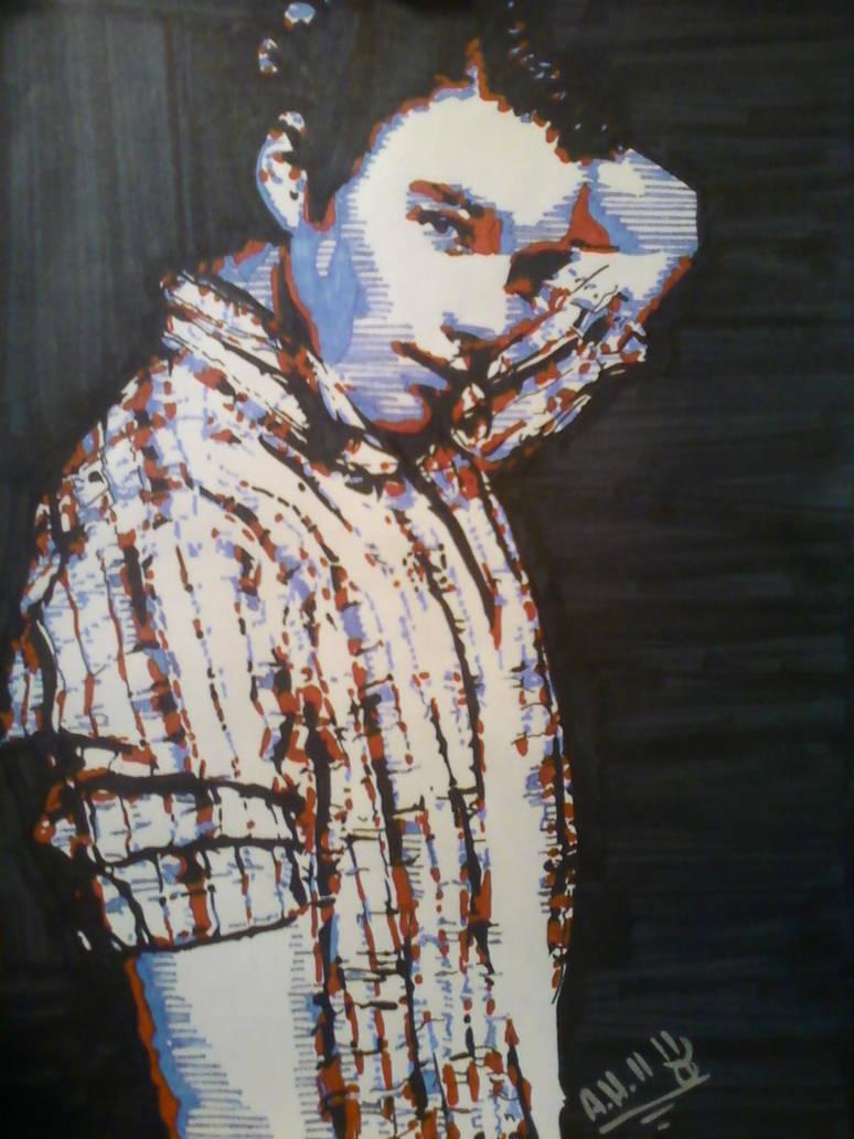Chris Colfer Hand Draw Pop Art