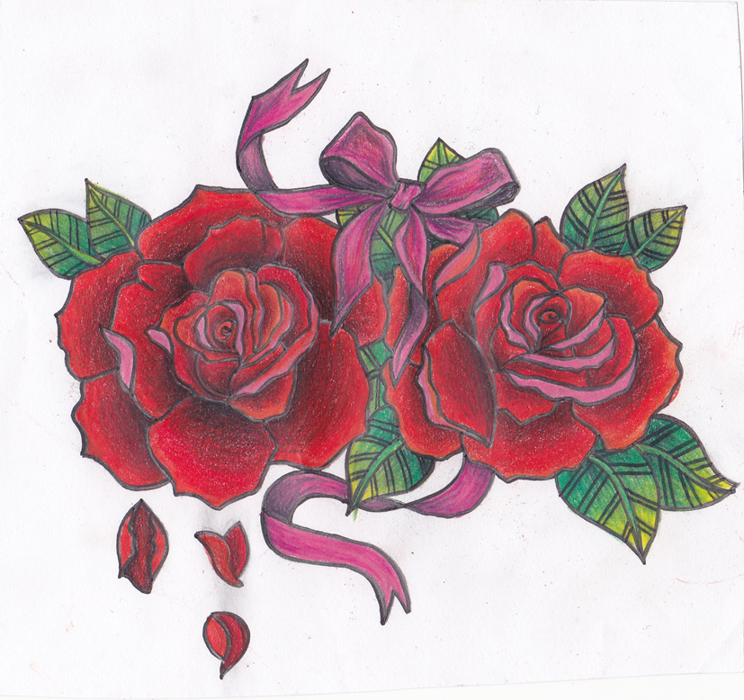Falling petals with a bow by xcassmonster on deviantart for Rose petal tattoo
