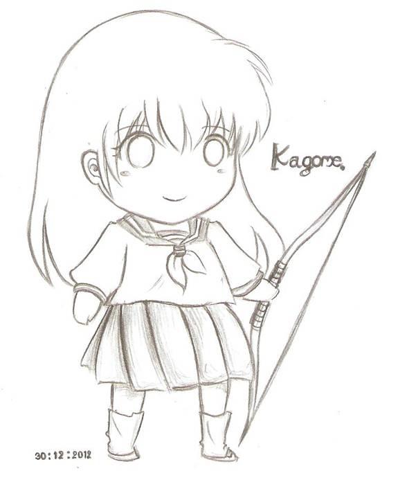 Inuyasha Girl Sakura Dream By Rosetteyagami On Deviantart: Chibi Kagome Sketch By Ddkungjung On DeviantArt