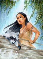 ACEO #81 Pocahontas by RoteGruetze