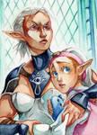 ACEO #85 OoT - Impa and Zelda
