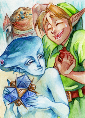 #86 OoT - Link and Ruto by RoteGruetze