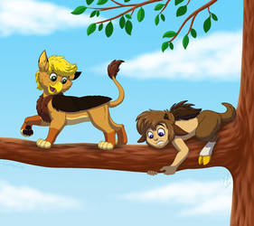 Gryphon and Faun by Goldy--Gry
