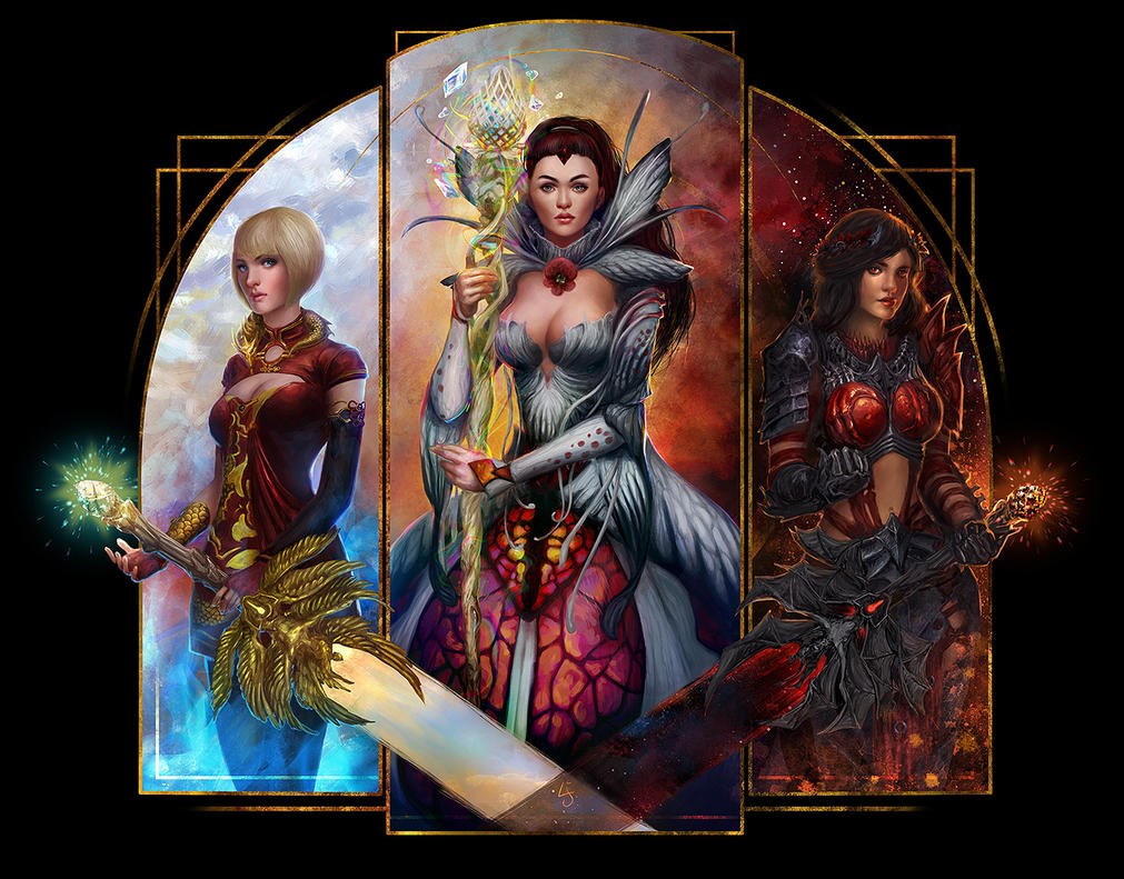 Guild Wars 2 - Triptych by kedemel