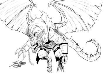 [COMM] Geoffroy dragon (BnW) by Jefra