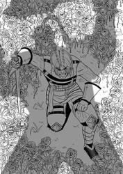 [COMM] Geoffroy in battle (BnW) by Jefra