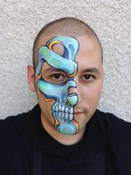 Blue Half Skull by RonnieMena