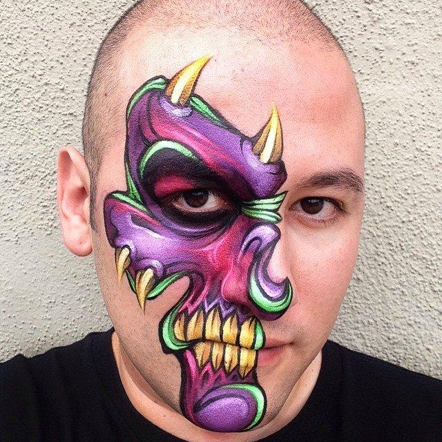 Purple Half Skull by RonnieMena