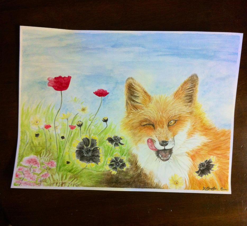 Watercolor-Silly Fox by pandaloverlol
