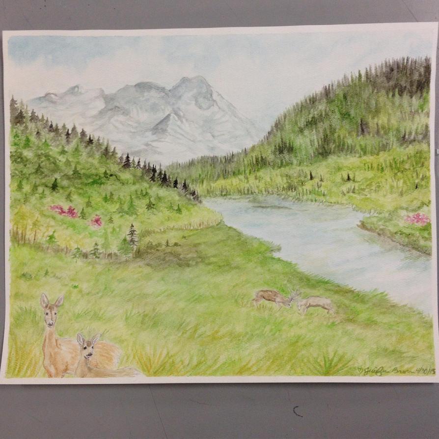 Watercolor landscape by pandaloverlol