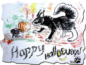 Hallowen postcard by Vicina