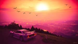 Synthwave sunset ferrari