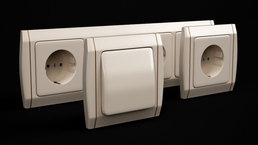 Free models - Electric sockets  Cinema 4D R12 Vray by
