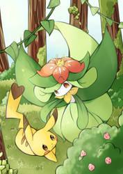 pikachu and lilligant by destizeph