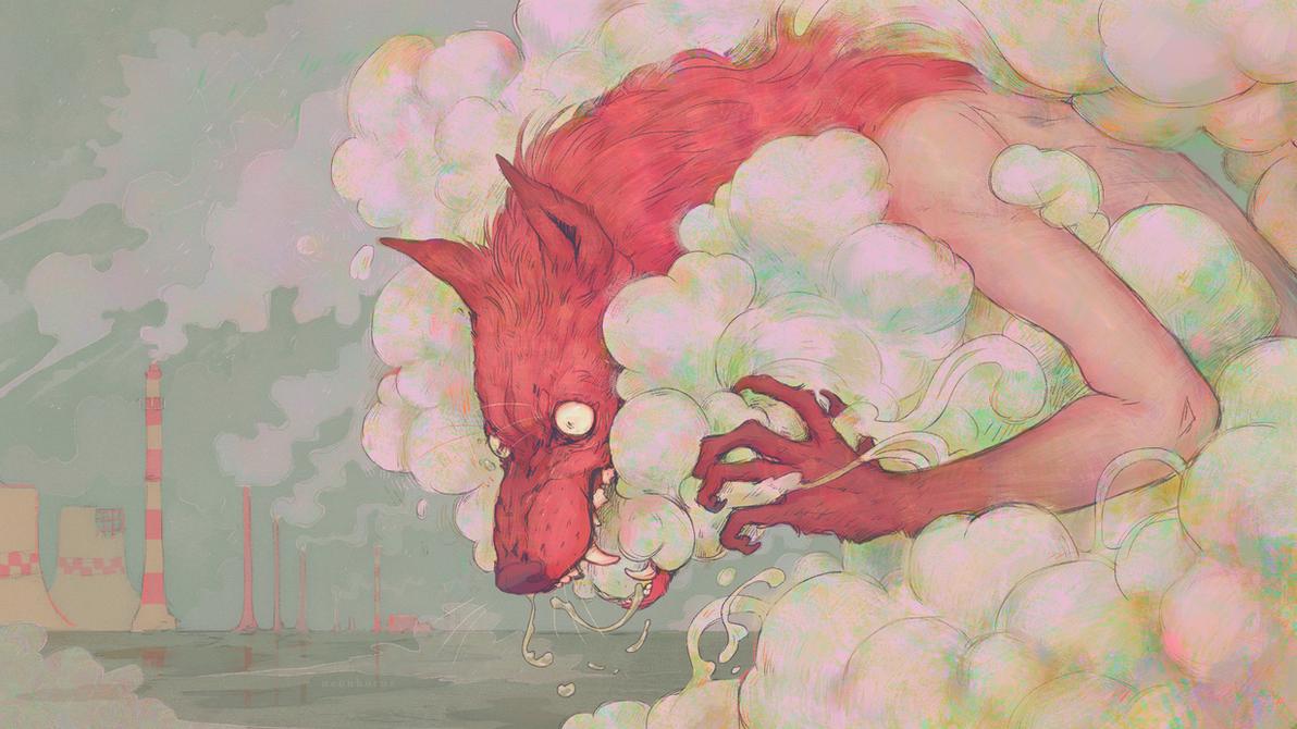 fuming wolfhead by neonhorns