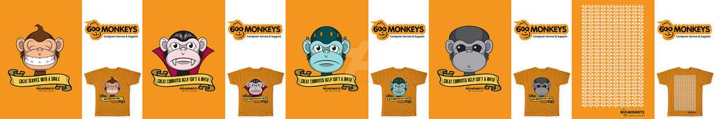 600 Monkeys T-shirts by SPetnAZ1982