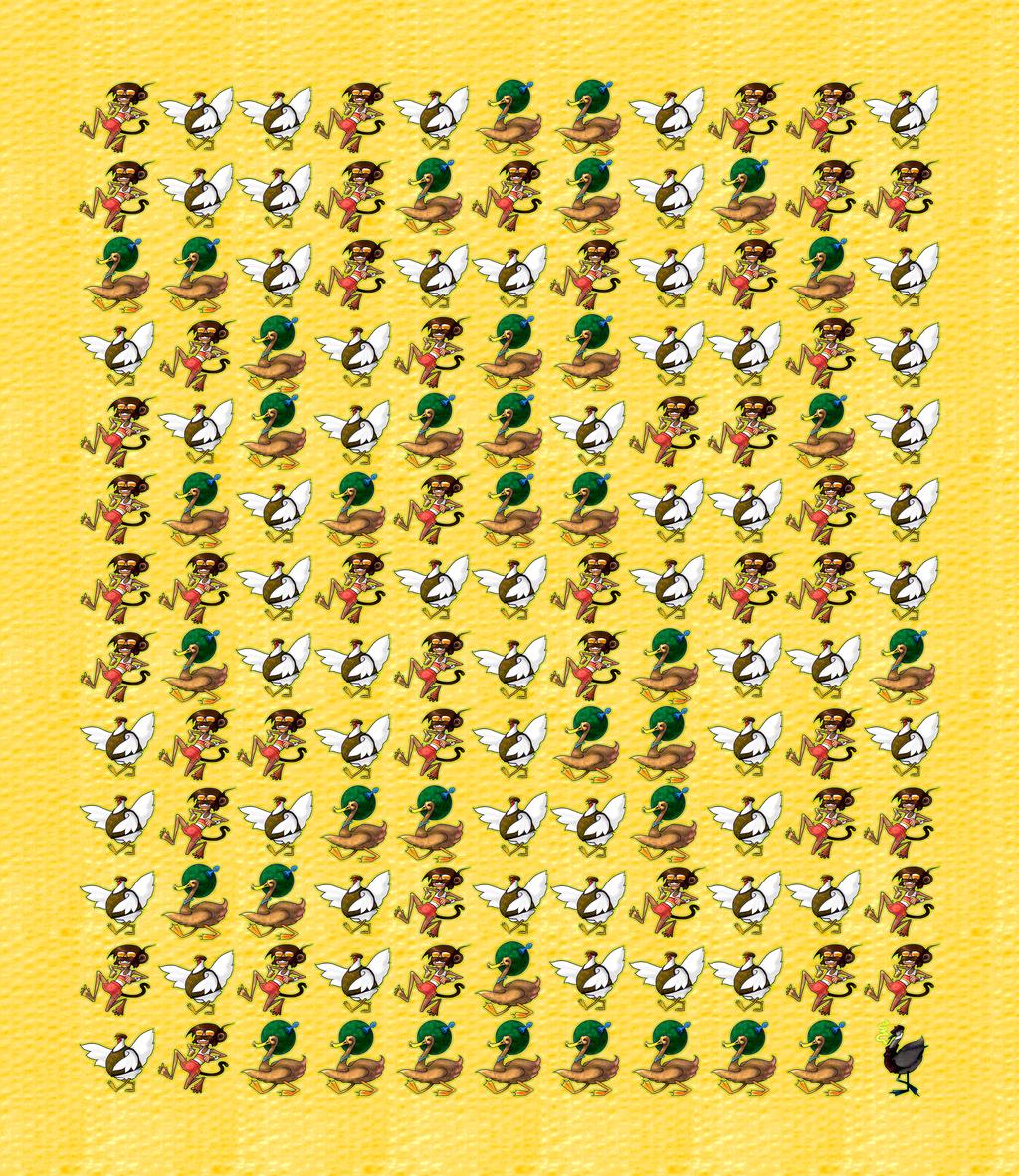 Chicken Monkey Duck Print by JadeGordon