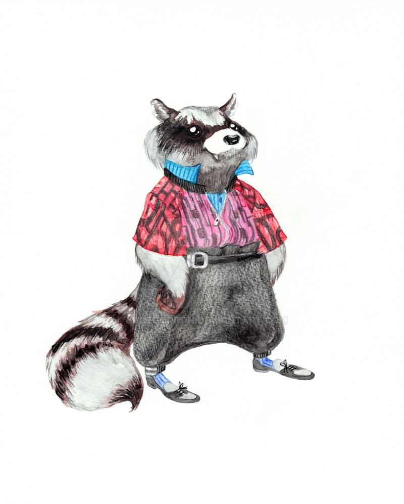 Raccoon in Menswear by JadeGordon