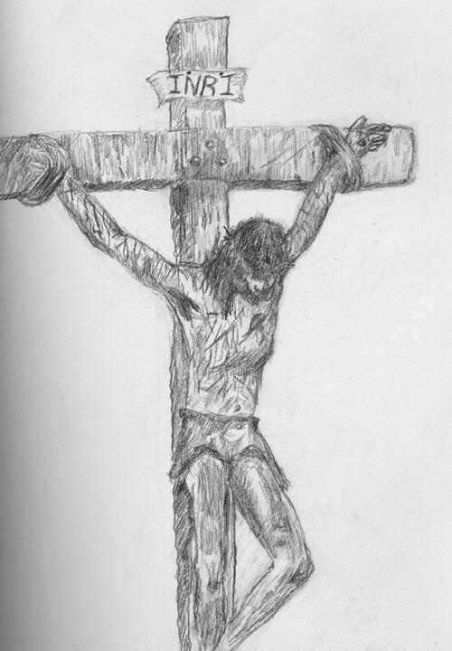 Jesus Crucified drawn by me by skyofoctober on DeviantArt