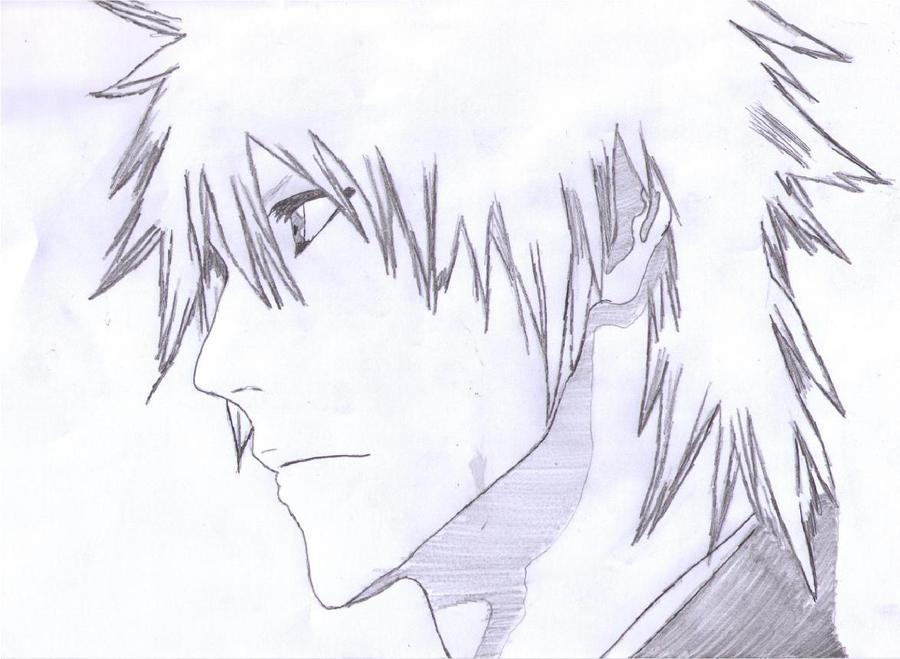 Ichigo Long Hair Head Drawing by - 86.4KB