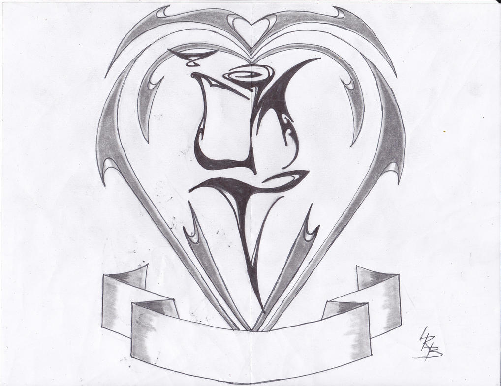 Tribal Heart With Banner TRIBAL HEART CREST by