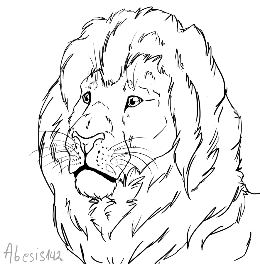 Line Drawing Lion Head : Free lion head line art by that goose on deviantart