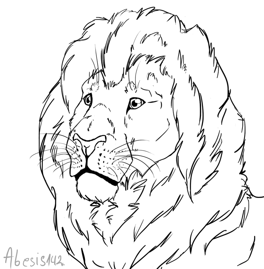Line Drawing Lion : Free lion head line art by that goose on deviantart