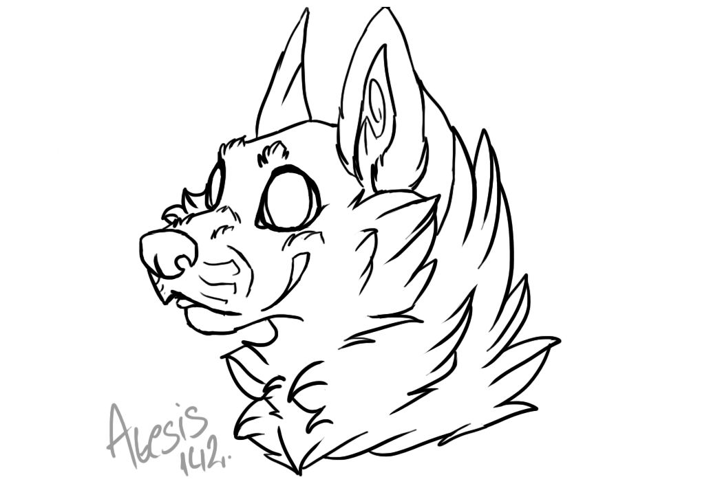 Line Drawing Wolf Head : Chibi wolf head line art by that goose on deviantart