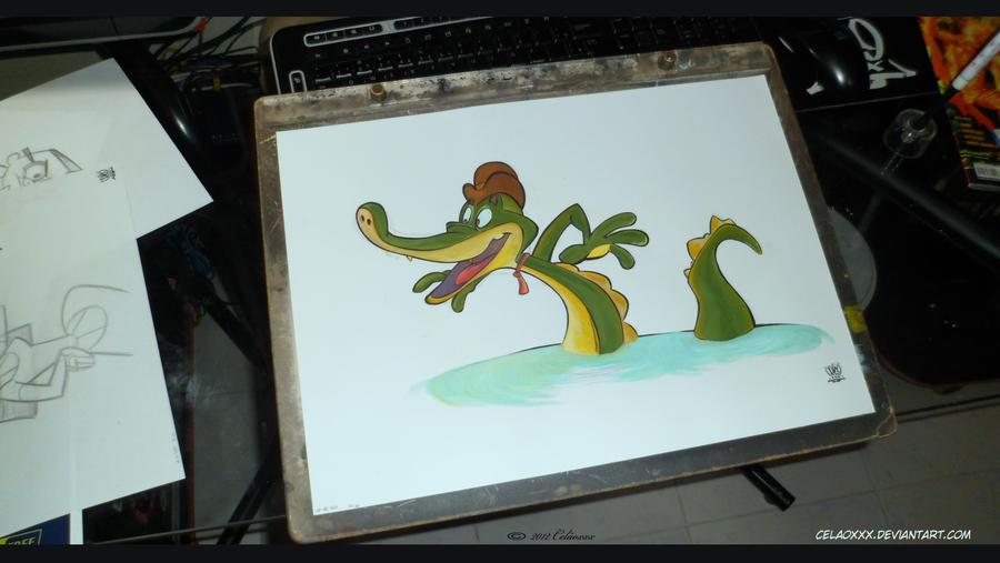 Crocodile Cartoon gouache by celaoxxx