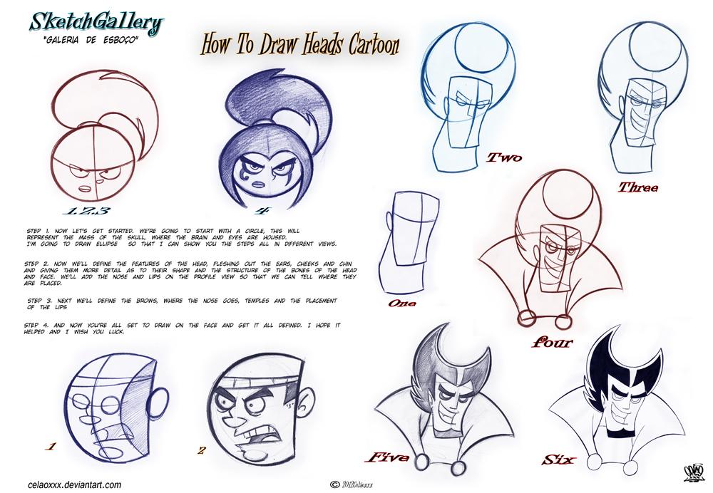 How to draw cartoon head by celaoxxx